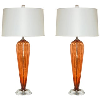 Joe Cariati Glass Teardrop Lamps Apricot For Sale