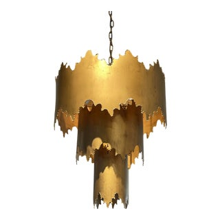 Three Tiered Gold Metal Chandelier For Sale