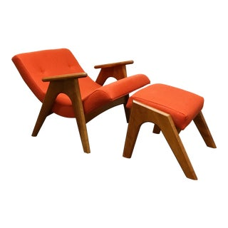 Vintage Mid Century Adrian Pearsall 862-C Chair and Ottoman For Sale