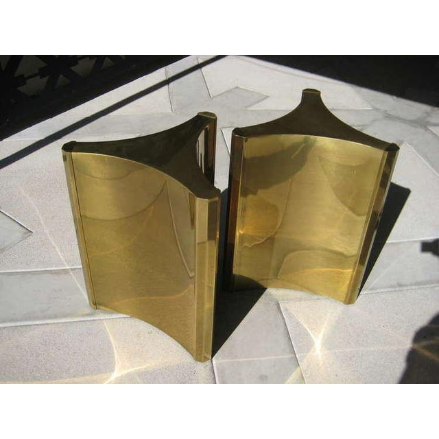 "Hollywood Regency Brass ""Trilobi"" Table Bases by Mastercraft - Pair For Sale - Image 3 of 5"