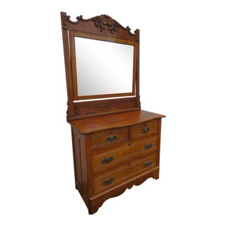 Victorian Early 1900s Oak Carved Large Dresser With Mirror by a H Heilman For Sale