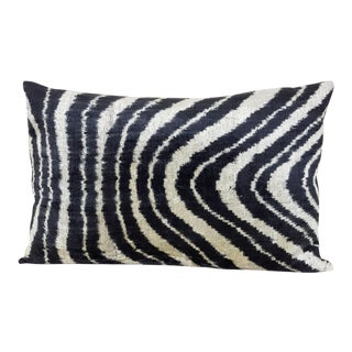 Silk Velvet Down Feather Ikat Accent Pillow For Sale