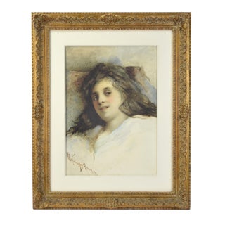 1872 Antique Pre-Raphaelite Style Young Woman in Repose Signed Watercolor Portrait Painting For Sale