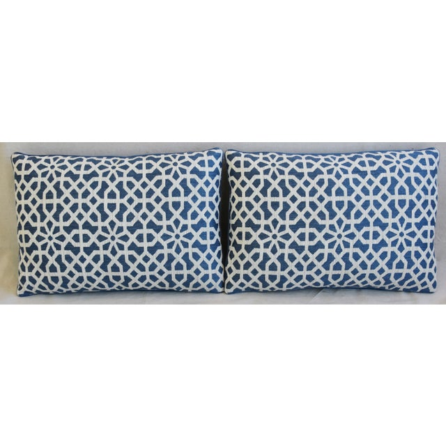 Pair of custom-tailored pillows in unused Italian cotton & linen blended fabric from Clarence House called Keystone...