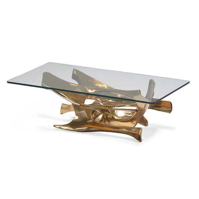 Fred Brouard 1970s Abstract Fred Brouard Superb Sculptural Bronze and Glass Coffee Table For Sale - Image 4 of 6