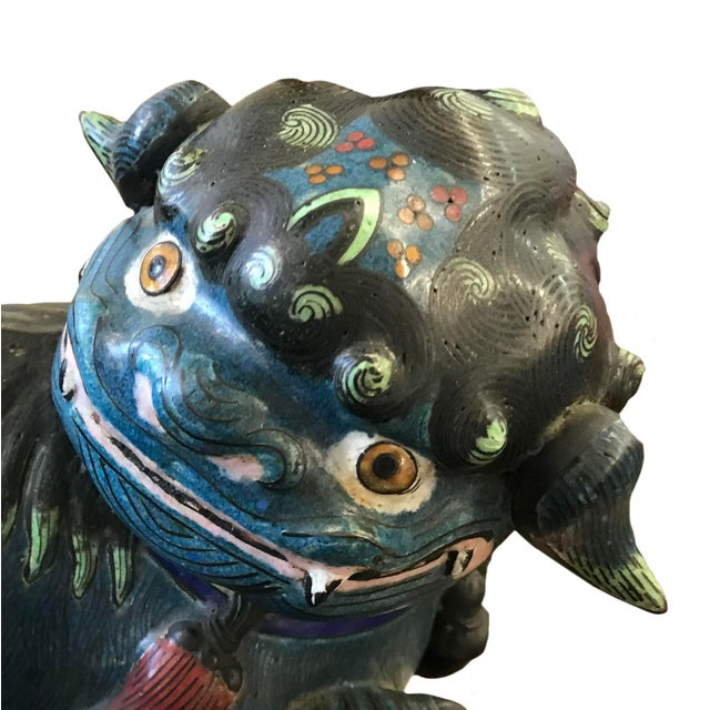 Chinoiserie 20th Century Chinese Cloisonné Foo Dog For Sale - Image 3 of 5