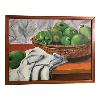 "1970s ""Still Life With Granny Smith Apples and Some Pears"" Painting by Jim Chapman For Sale"