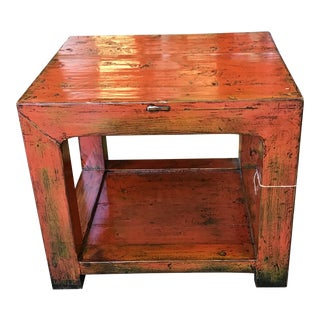 19th Century Asian Antique Orange Lacquered Elm Wood Side Table For Sale
