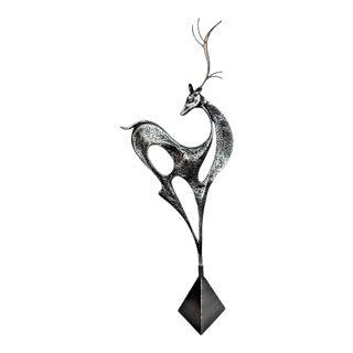 1980s Curtis Jere Metal Reindeer Sculpture For Sale