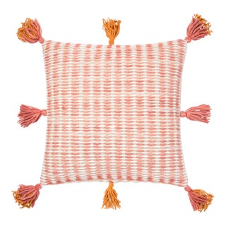 "Justina Blakeney X Loloi Pink / Orange 22"" X 22"" Cover with Down Pillow For Sale"