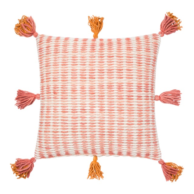 """Justina Blakeney X Loloi Pink / Orange 22"""" X 22"""" Cover with Down Pillow For Sale"""