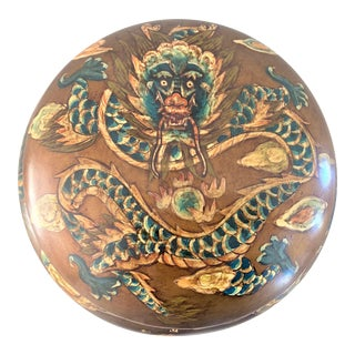 Vintage Round Chinese Dragon Box With Lid For Sale