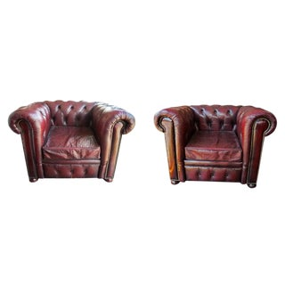 1950s Vintage Chesterfield Leather Club Chairs- a Pair For Sale