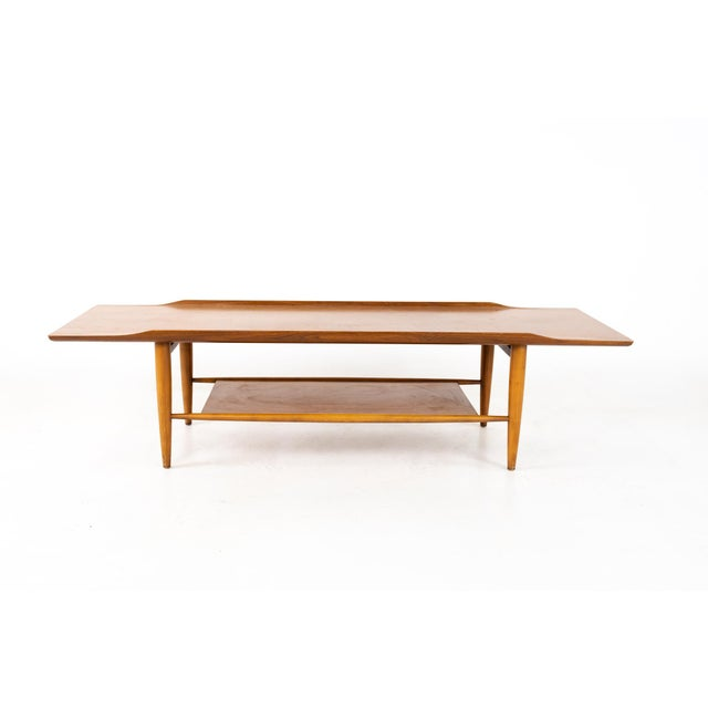 Grete Jalk Style Mersman Mid Century Surfboard Mahogany Coffee Table Coffee table measures: 58 wide x 18.75 deep x 14.5...