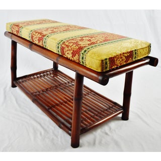 Vintage Bamboo and Rattan Hall Bench With Cushion Preview