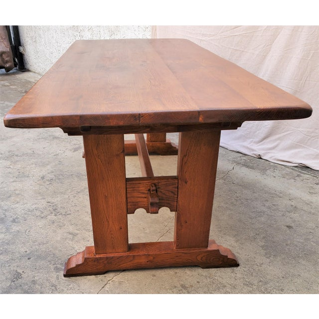 Antique Plank Solid Oak Refectory Dining Table With Set of 6 Ladderback Chairs - 7 Pieces For Sale - Image 12 of 13