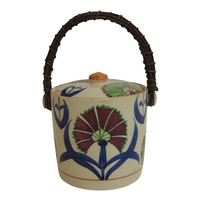 Vintage Floral Hand-Painted Ice Bucket For Sale