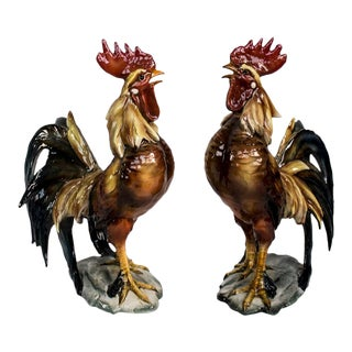 Vintage Majolica Rooster Figurines - a Pair For Sale