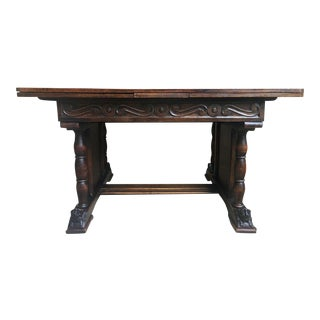 Antique French Carved Dark Tiger Oak Draw Leaf Dining Table 8 Ft. Renaissance For Sale
