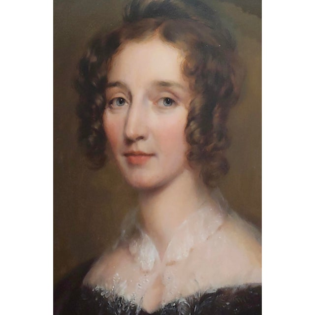 "George Healy ""Portrait of a Beautiful Aristocratic Lady"" Oil Painting, 19th Century For Sale - Image 4 of 8"