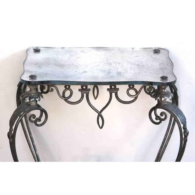 Mid-Century Modern Elegant and Stylish French, 1940s Iron and Tole Side Table by Rene Drouet For Sale - Image 3 of 7