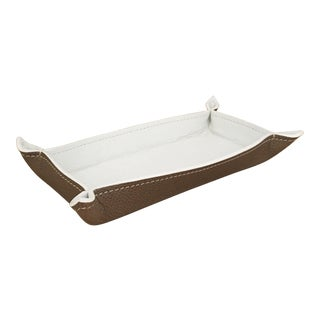 Large Rectangular Change Tray in Leather Grainé White and Taupe For Sale