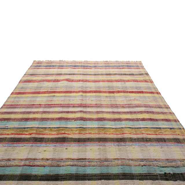 Tribal Vintage Chaput Geometric Striped Beige-Brown and Multicolor Wool Kilim Runner Rug For Sale - Image 3 of 7