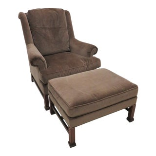 Hickory Chair Co. Chippendale Style Wing Chair & Ottoman