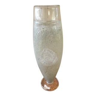 Kosta Boda Vintage Fossil Series Vase With Etched Artist Signature For Sale