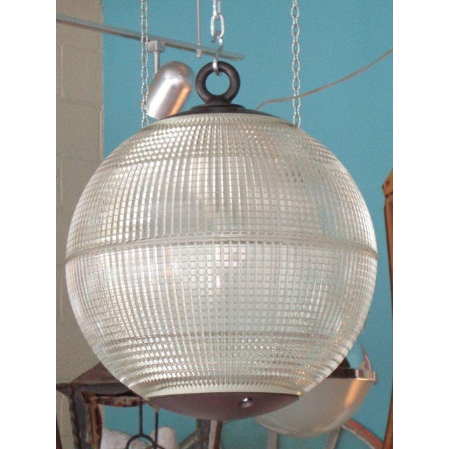 Glass Large Holophane Glass Sphere Globe Light For Sale - Image 7 of 7