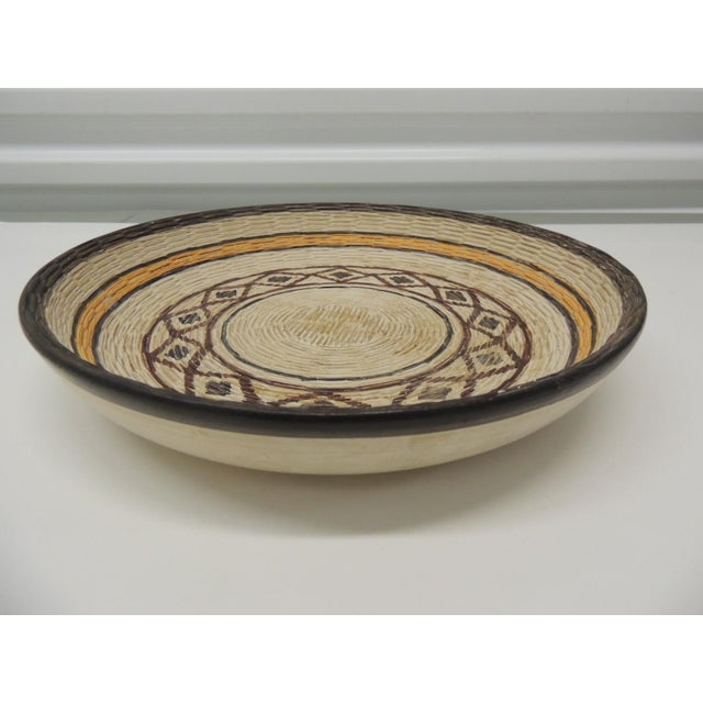 Rustic Vintage Yellow and Brown English Basket Weave Design Ceramic Decorative Bowl For Sale - Image 3 of 6