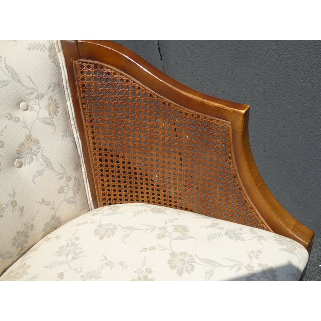 Vintage Wood & Cane White Club Chairs For Sale - Image 9 of 9