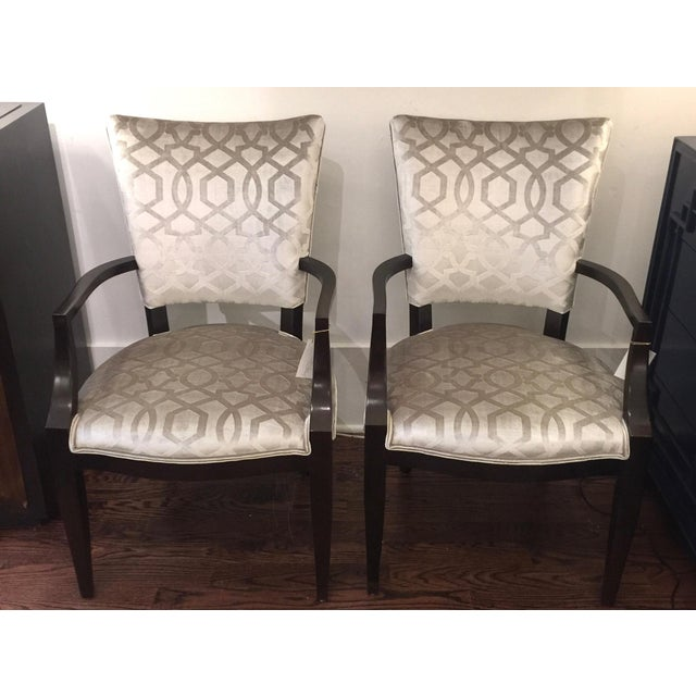 Century Furniture Silver Velvet Transitional Chairs - A Pair - Image 2 of 5