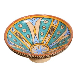 Antique Moroccan Handcrafted Pottery Bowl For Sale