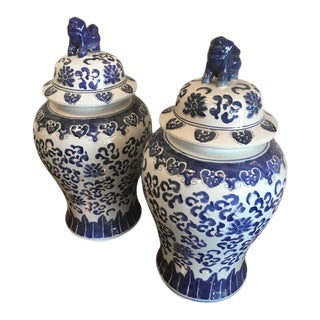 Vintage Blue and White Foo Dogs Ginger Jars - a Pair For Sale
