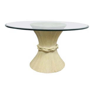 McGuire Mid-Century Modern Bamboo Wheat Sheaf Glass Top Dining Table For Sale