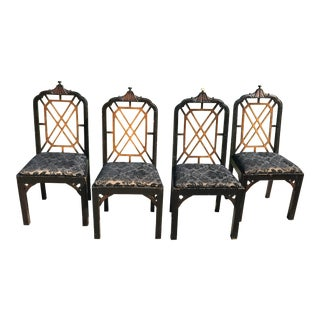 1970s Chinoiserie Century Furniture Pagoda Chairs - Set of 4 For Sale