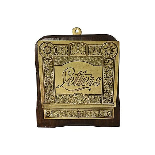 Vintage English Brass & Oak Hanging Letter Rack - Image 1 of 2