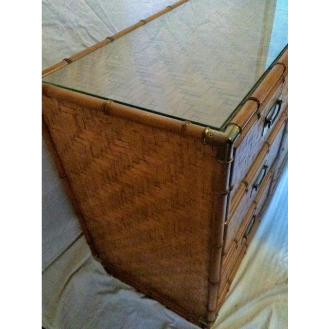 1960s Campaign Dixie Furniture Co Faux Bamboo & Woven Wicker Dresser and Mirror Set - 3 Pieces For Sale - Image 10 of 11