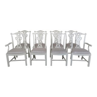 Hickory Chair Co. White Chippendale Dining Room Chairs - Set of 8
