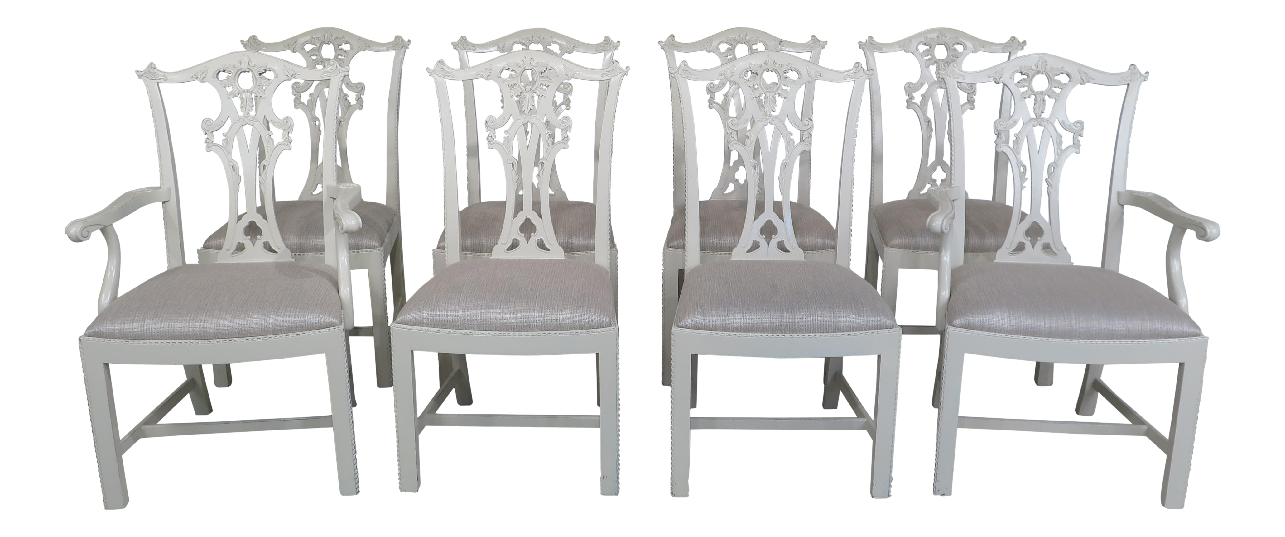 Hickory Chair Co. White Chippendale Dining Room Chairs   Set Of 8