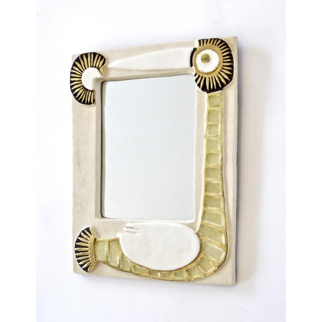 Mid-Century Modern French Francois Lembo Ceramic Wall Mirror For Sale - Image 3 of 8