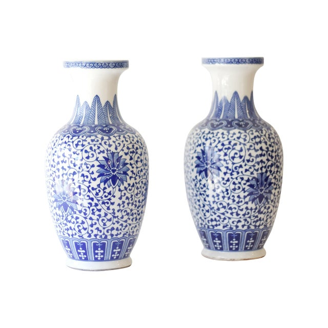 Blue & White Korean Vases - a Pair For Sale