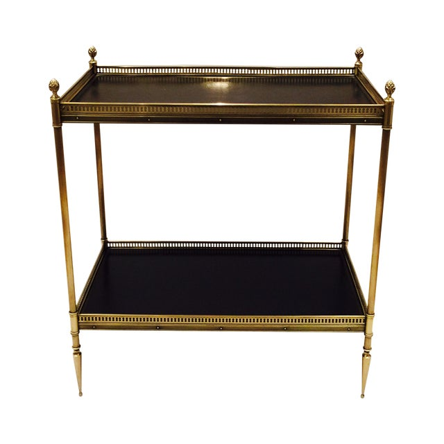 Brass and Leather Occasional Table - Image 1 of 5
