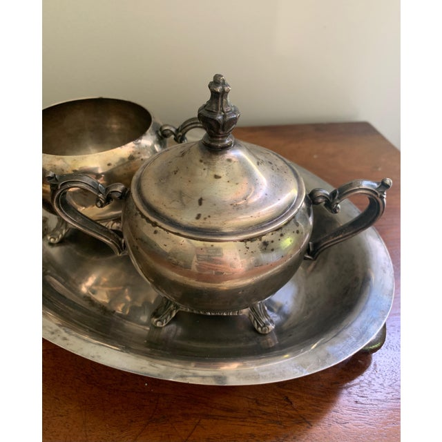 Antique Silver Cream & Sugar Set- 3 Pieces For Sale In Washington DC - Image 6 of 11
