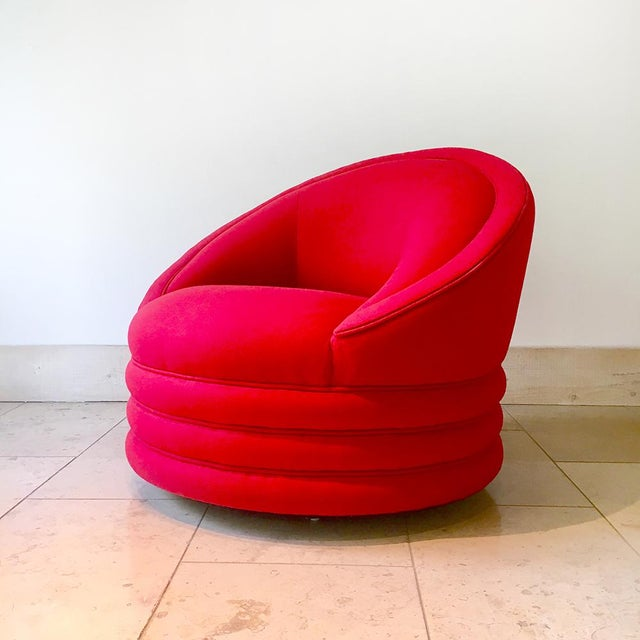 A Single Wool Upholstered Swivel Armchair 1980s For Sale - Image 6 of 6