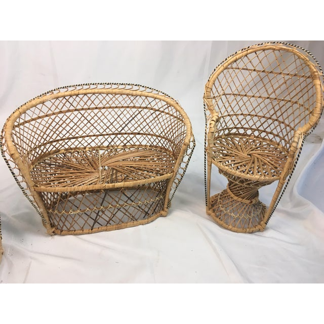 Shabby Chic Miniature Rattan Furniture - Set of 3 For Sale - Image 3 of 6