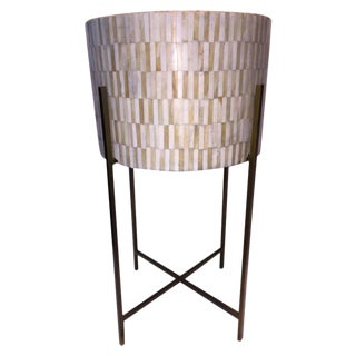 Bone Veneer Drum Table