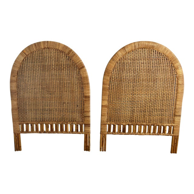 Vintage Mid-Century Arched Cane Rattan Twin Headboards - a Pair - Image 1 of 9