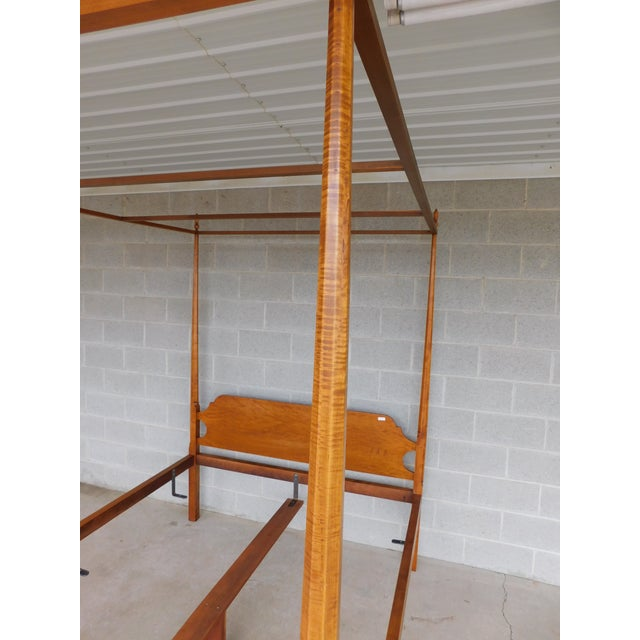 American Eldred Wheeler Shaker Style Tiger Maple Queen Size Tester Poster Bed For Sale - Image 3 of 13